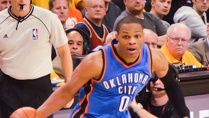Russell Westbrook dribbling vs Cavs cropped 2